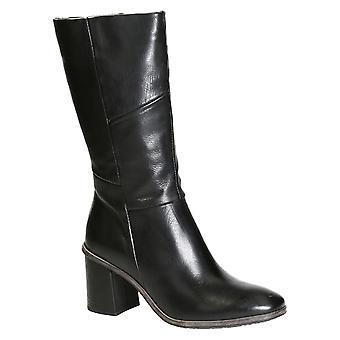 Women's black leather medium heel knee high boots