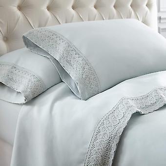100% Cotton- 4-piece Crochet Lace Bed Sheet Set, Sea Mist