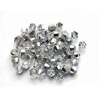 Packet 75+ Silver/Clear Czech Crystal Glass 4mm Faceted Bicone Beads GB8657-2