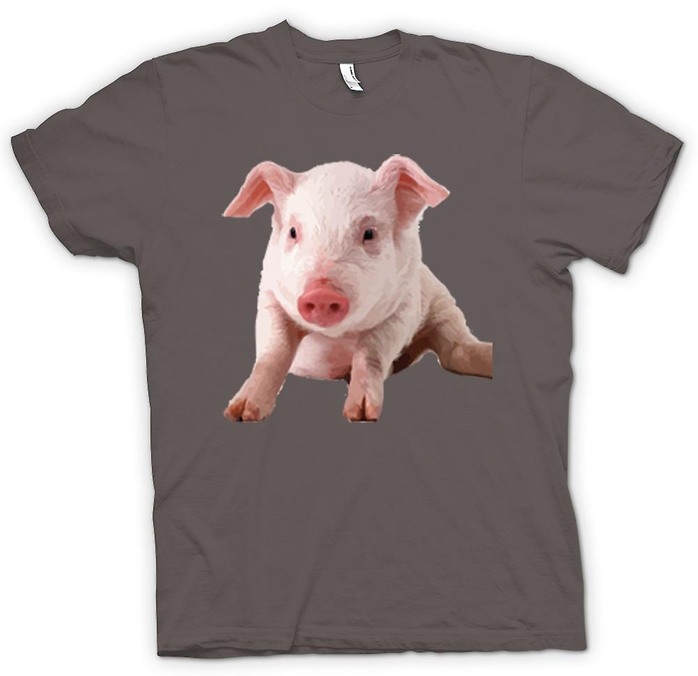 Womens T-shirt - Cute Piglet Pig Portrait