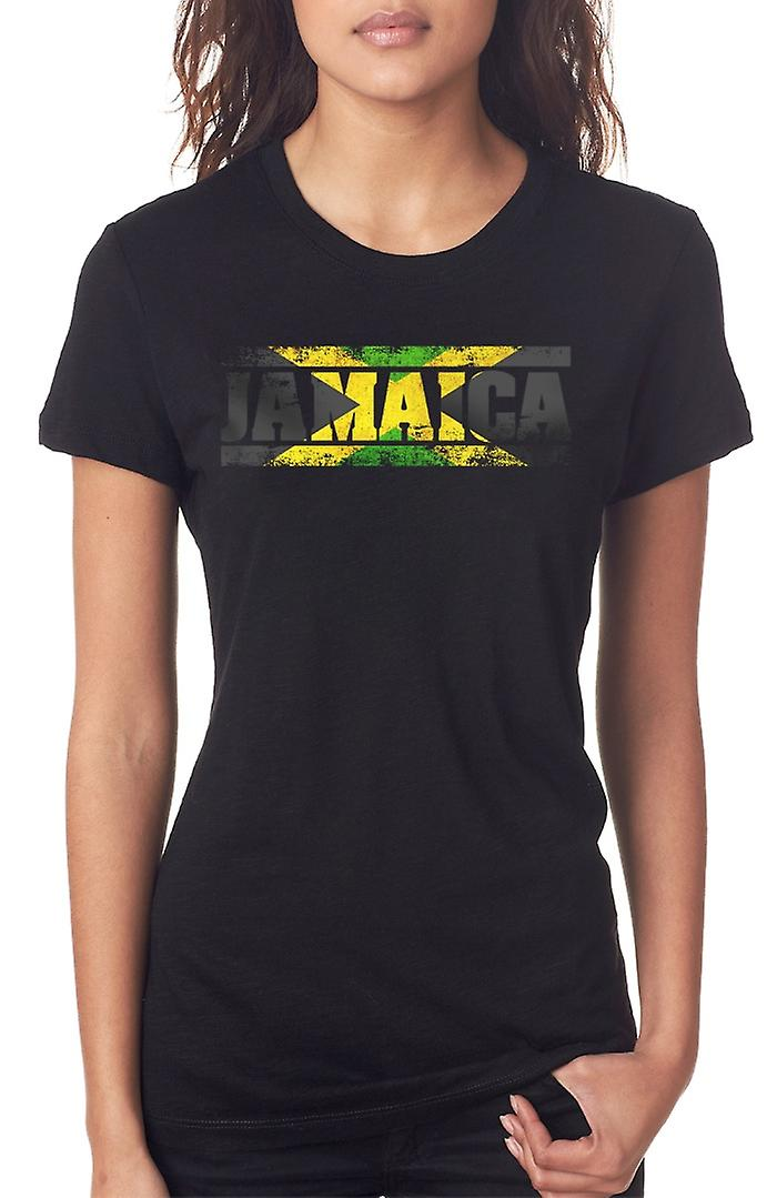 Jamaica Jamaican Flag - Words Ladies T Shirt