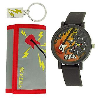 Tikkers Grey and Red Rock 3D Dial Watch, Key Ring and Purse Set ATK1015
