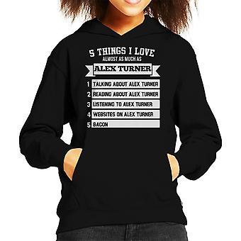 Five Things I Love As Much As Alex Turner Kid's Hooded Sweatshirt