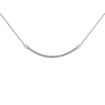 IGI Certified Natural 10k White Gold 0.25Ct Solid Diamond Bar Necklace