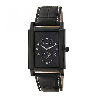 Heritor Automatic Frederick Leather-Band Watch - Black