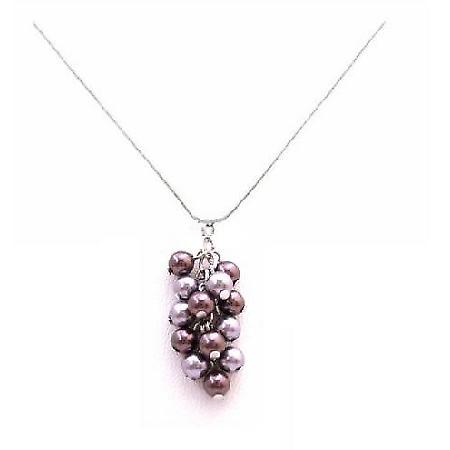 Purple & Gray Pearls Combo Pendant Necklace Swarovski Pearls Jewelry