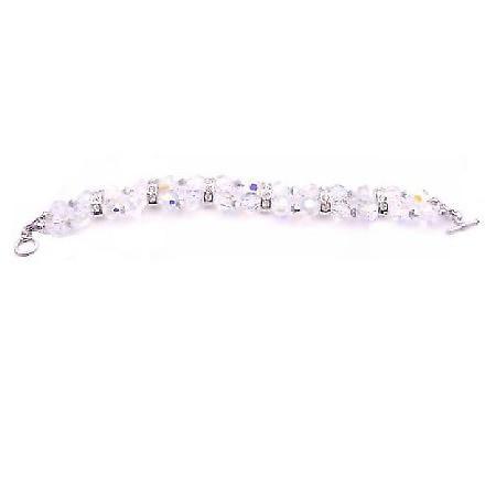 AB Round w/ Light Comet Argent Silver Rondelles Irridescent Bracelet