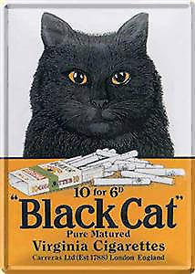 Black cat Cigarettes metal postcard / mini-sign