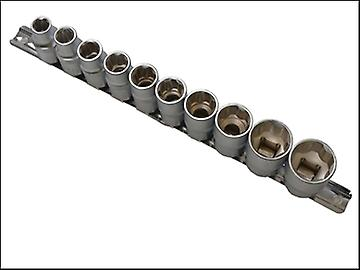 BlueSpot Tools Sockets On Rail Set of 10 Metric 1/2in Drive