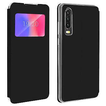 Finestra flip, flip portafoglio caso con supporto per Huawei P30 - nero