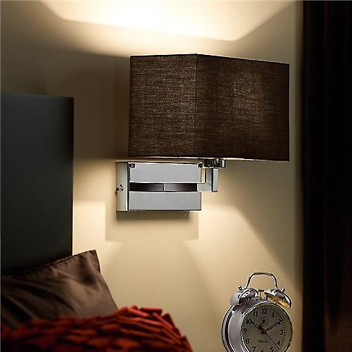 Endon 96750-CH Contemporary Switched Chrome Wall Light With Black Box Shade