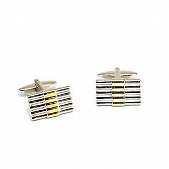 Jakob Strauss Gents Silvertone with Goldtone Stripe Ribbed Cufflinks
