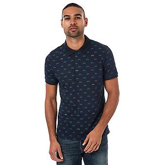 Mens Ben Sherman Scooter Print Polo Shirt In Navy- Short Sleeve- Ribbed Cuffs