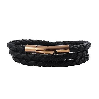 Lederen ketting lederen lint 6 mm heren ketting zwart 17-100 cm lang met hendel print sluiting Rose goud gevlochten