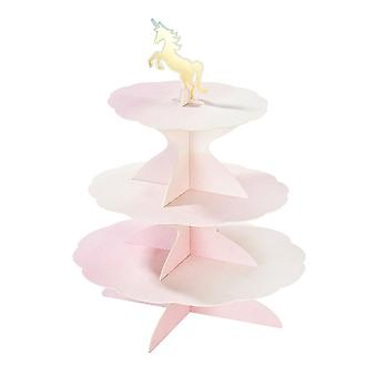 Pastel 3 Tier Card Cakestand Reversible Tiers with 4 Tops