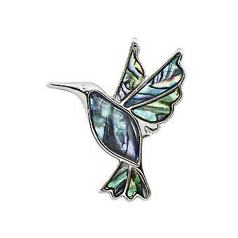 Eterna colección Néctar El Colibrí Paua Shell Silver Tone Bird Broche