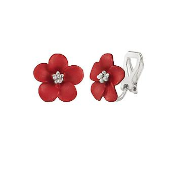 Eternal Collection Anemone Red Enamel Silver Tone Stud Clip On Earrings