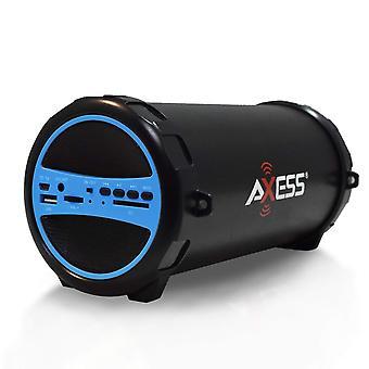 Axess bærbar Bluetooth Hi-Fi cylinder højttaler med AUX indgange-blå