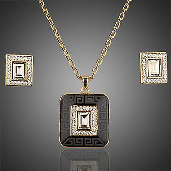 18K Gold Plated Charcoal Black Jewellery Set