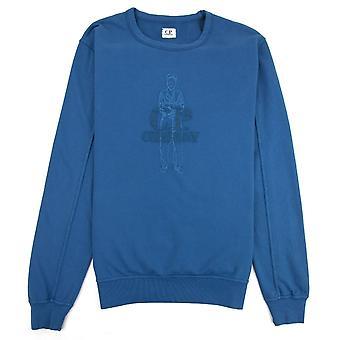 CP Company Lightweight Embroidered Logo Sweatshirt Blue 849