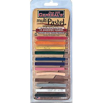 General's Multi Pastel Compressed Chalk Sticks 12 Pkg Assorted Colors 40140 Bp