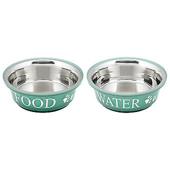 Food & Water Set Large 2qt-Teal 10172