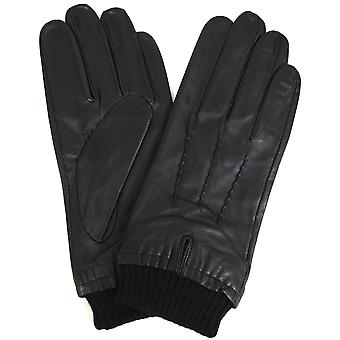 Leather Knitted Rib Cuff Gloves - Black