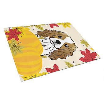 Cavalier Spaniel Thanksgiving Glass Cutting Board Large BB2030LCB