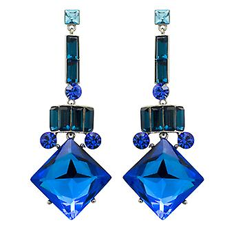 Butler & Wilson Vintage Square Shape Drop Art Deco Earrings - Blue