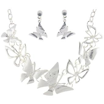 Matt Silver Plated Butterflies Necklace and Earrings Jewellery Set