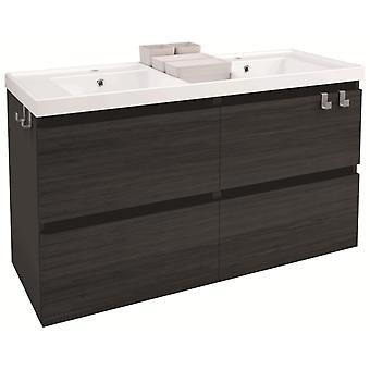 Bath+ Washbasin cabinet 4 drawers 2 Brightness Breast-Front Anthracite Slate 120cm