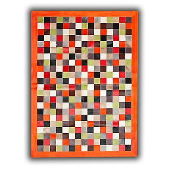 Rugs - Patchwork Leather Cubed Cowhide - Multi 148