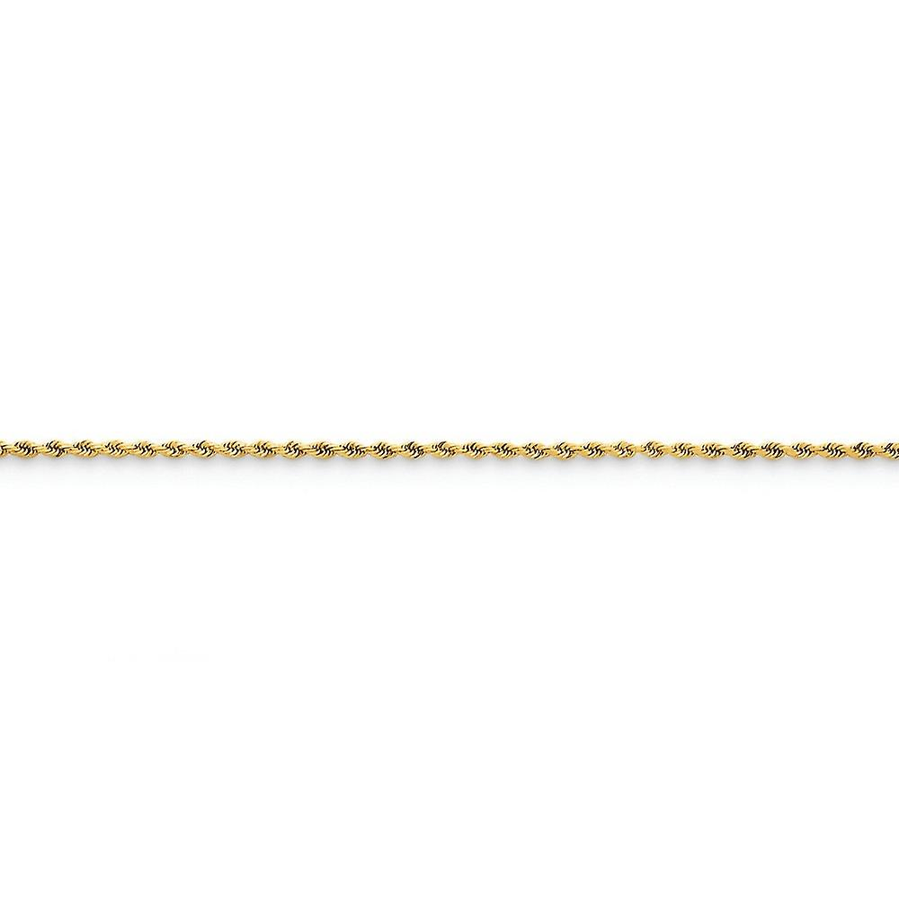 14k jaune or Solid Sparkle-Cut Lobster Claw Closure 1.75mm D-Cut Rope Lobster Clasp Chain Necklace - Lobster Claw - L