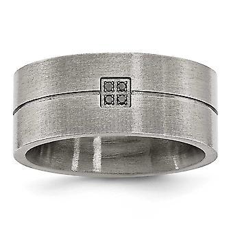 Edelstahl matt 0,03 ct. TW. Black Diamond 10mm Bandring - Größe 11,5