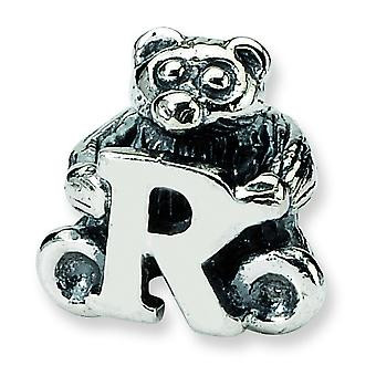 Sterling Silver Antique finish Reflections Kids Letter R Bead Charm