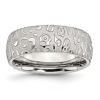 Rostfritt stål Borstad Engravable Satin och polerad texturerat 8mm Band Ring - Ring storlek: 7-13
