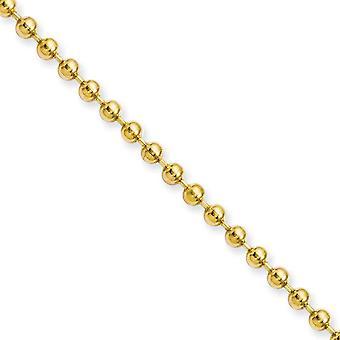 Acier inox Ip or-flashé poli jaune mousqueton fantaisie plaqué IP fermeture 3,0 mm collier de chaîne boule - longueur: 18 t