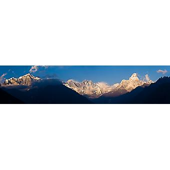 Snowcapped mountains Mt Everest Ama Dablam Khumbu Himalayas Nepal Poster Print