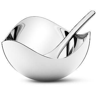 Georg Jensen Bloom salt Bowl with spoon stainless steel high gloss