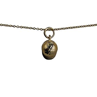 9ct Gold 10x9mm Jockey Cap and Whip Pendant with a cable Chain 16 inches Only Suitable for Children