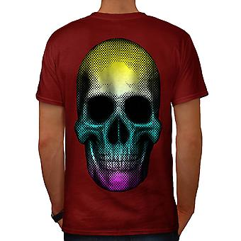 Summer Party Skull Colour Fear Men Red T-shirt Back | Wellcoda