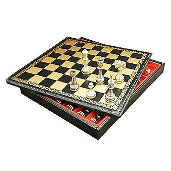 Large Metal Staunton Chess Set With Leather Chest