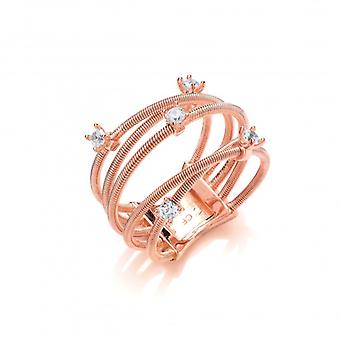 Cavendish French Silver and Rose Gold Strand Ring