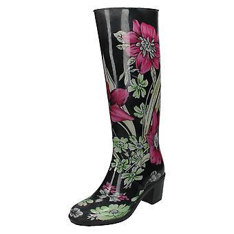 Dames plek op hakken Wellington laarzen met bloemmotief