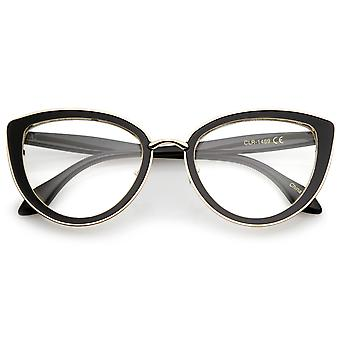Kvinders High mødet templer Teardrop klar linse Cat Eye briller 53mm