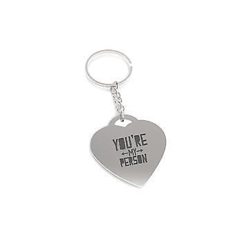 You are My Person Both Side Arrow Key Chain Heart Shaped Key Ring Gift for Her