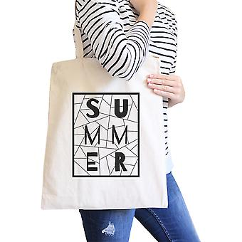 Summer Geometric All-Purpose Heavy Cotton Natural Canvas Tote Bag