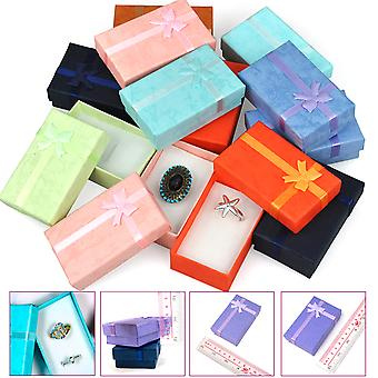 TRIXES 12 x Elegant Luxury Rectangular Bow Gift Boxes For Jewellery Presentation