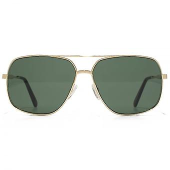 Marc Jacobs Square Aviator Sunglasses In Gold Grey Green