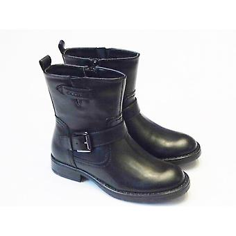 Geox Girls Black Boots - Geox Sofia F Black Leather Ankle Boot